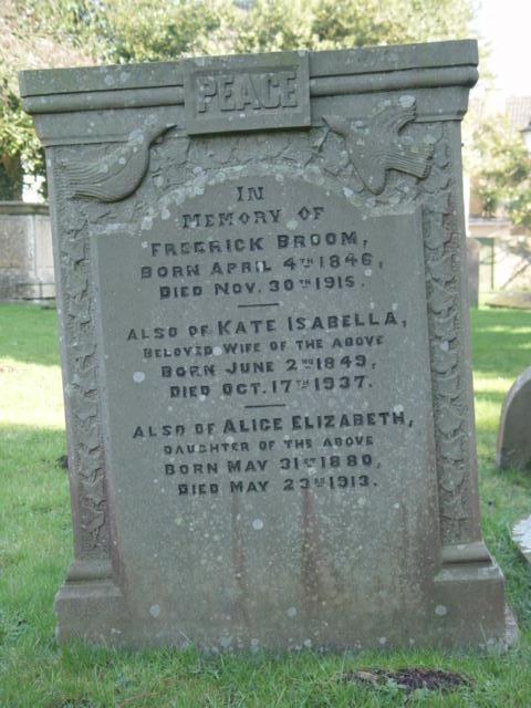 Broom gravestone at St Mary's Tetbury.