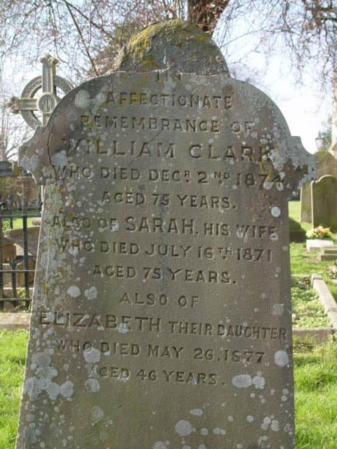 William Clark gravestone at St Mary's Tetbury.