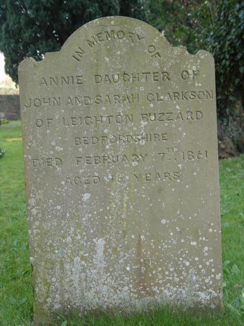 Clarkson gravestone at St Mary's Tetbury.