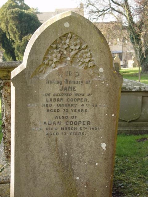Jane Cooper gravestone at St Mary's Tetbury.