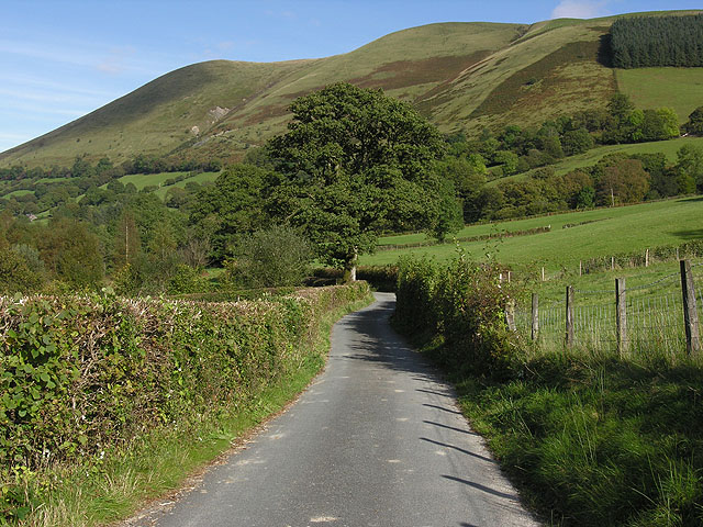 Minor road up the Dyfi valley