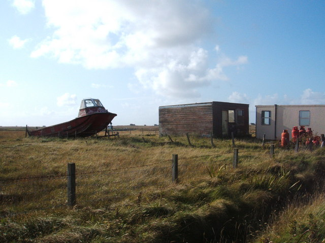 Beached vessel and portacabins