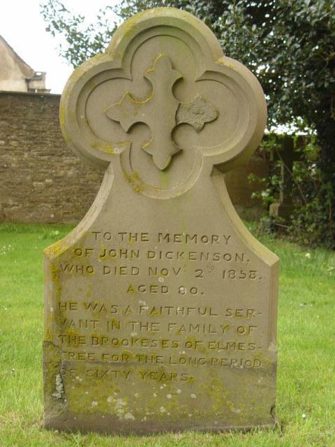 John Dickenson gravestone at St Mary's Tetbury.