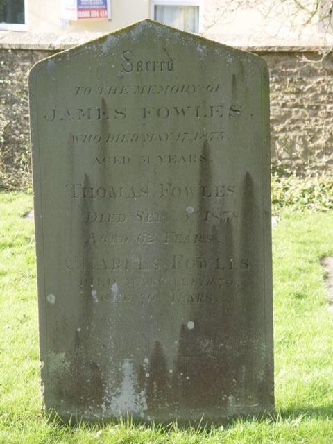 James Fowles gravestone at St Mary's Tetbury.