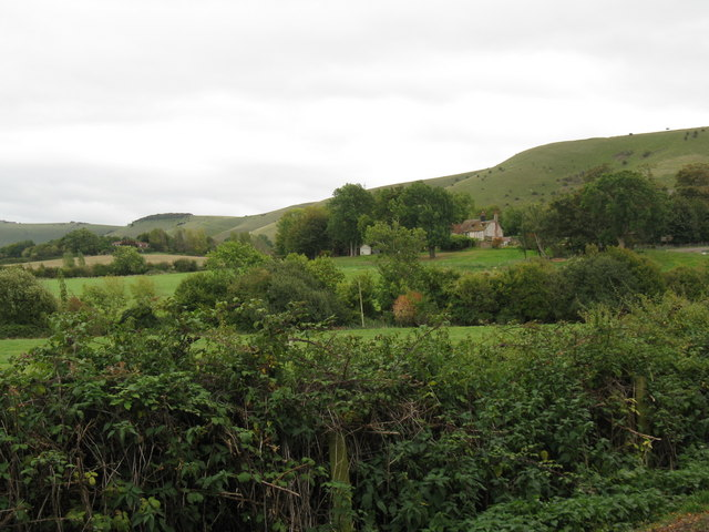 View across hedgerows to Edburton House