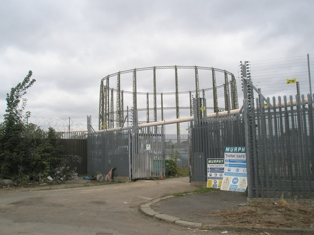Gasometer near the railway line at Southall