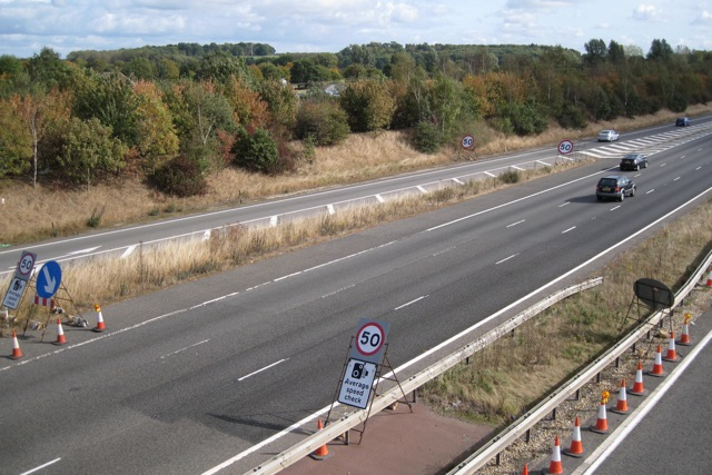 4x50=50: M40 eastbound past junction 15 near Warwick