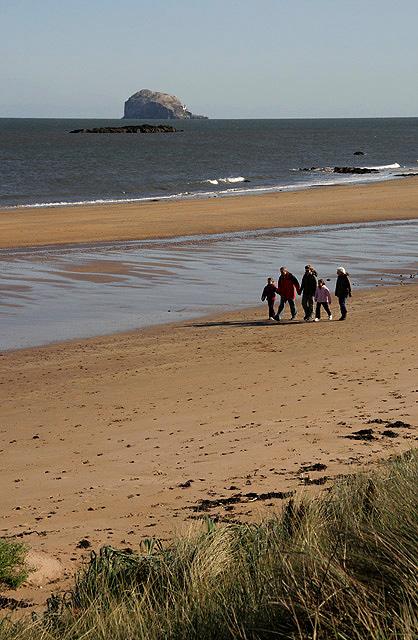 Walking along North Berwick beach