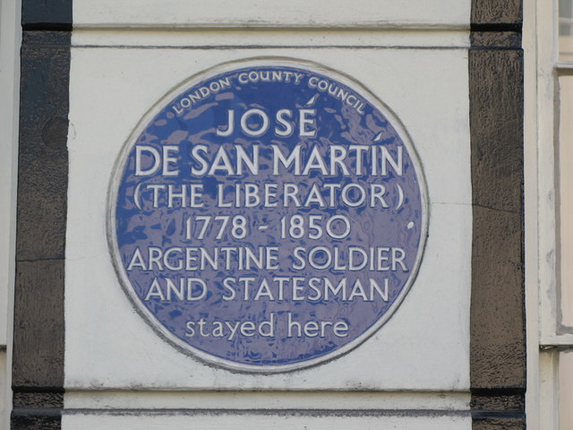 Plaque re José De San Martín, Park Road, NW1