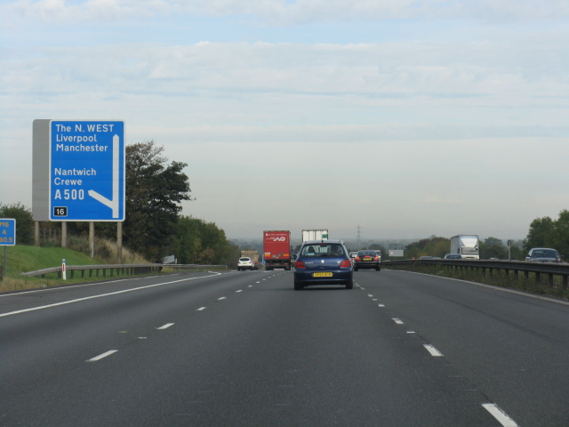 M6 Motorway - Approaching Junction 16 Exit Northbound