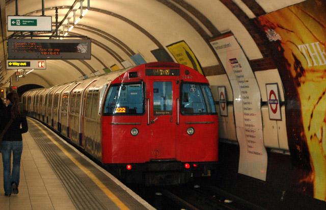Train leaving Regents Park underground station