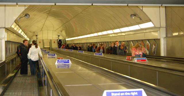 Angel underground station, longest escalator in Europe