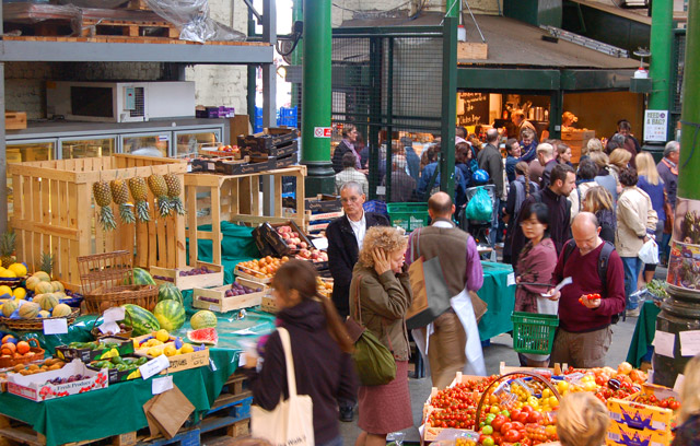 Crowds shopping at Borough market, south London