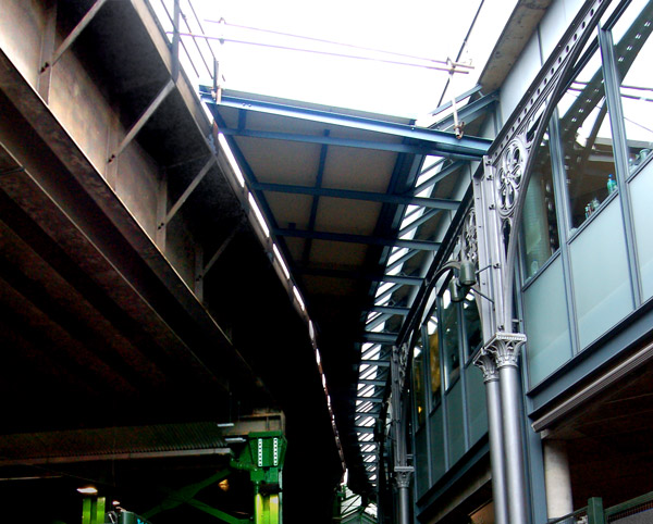 Counter-curving roofs at Borough market, south London