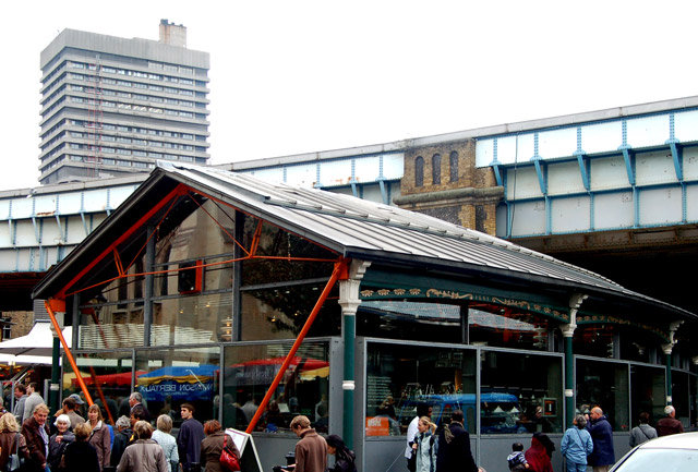 Borough market, south London: a restaurant called 'Fish!'