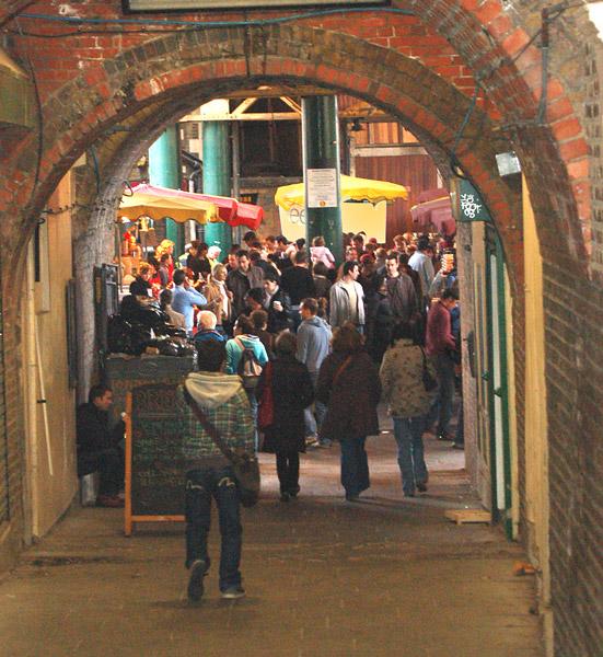 Borough market, south London: Green Dragon Court entrance