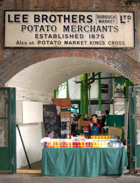 Old sign, modern drink: Borough market in south London