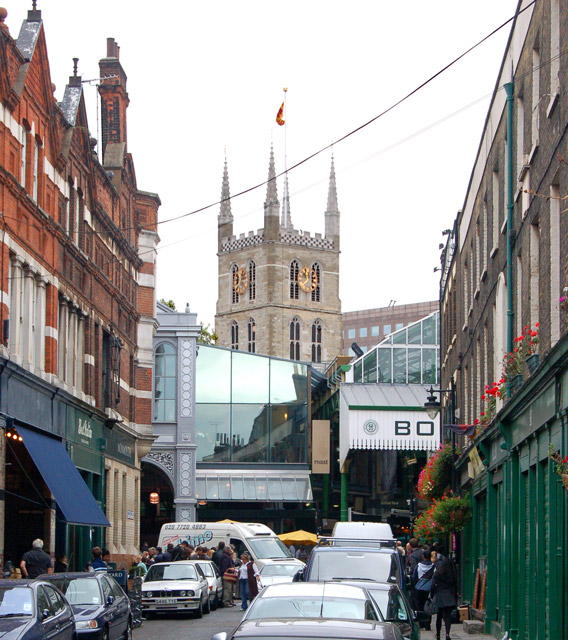 View along Park Street to Borough market and Southwark cathedral