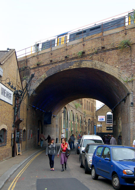Railway arch over Stoney Street, Borough, south London