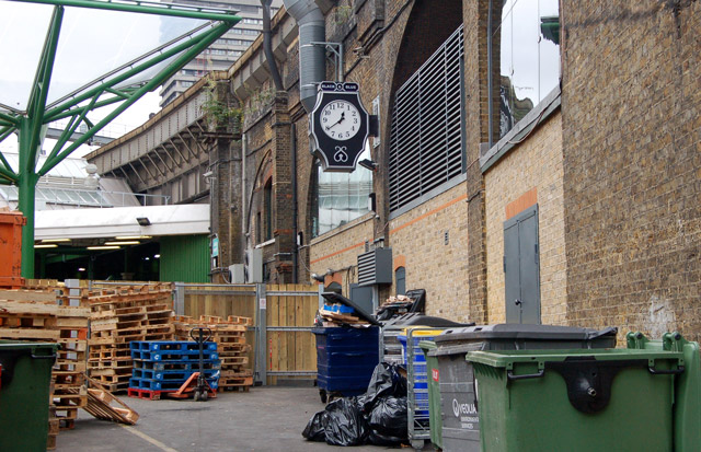 Pallets and rubbish bins, Borough market, south London