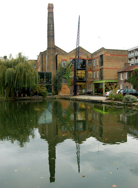 Converted warehouse above City Road lock, Regents Canal, Islington