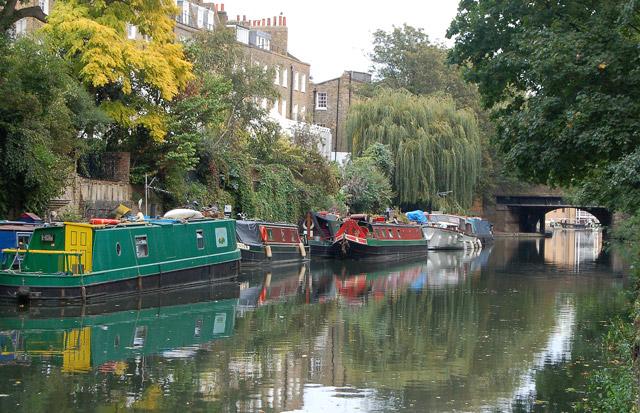 Looking along the Regents Canal to Danbury Street bridge, Islington