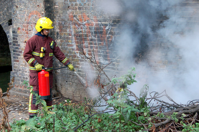 Firefighting beside the Regents Canal, Islington (1)