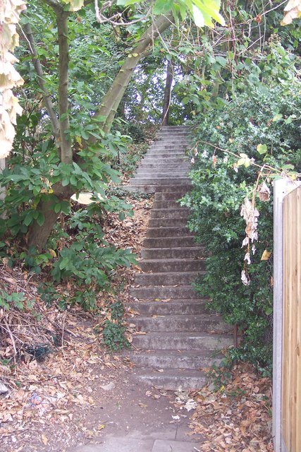 Steps from St. Michaels Road to disused railway