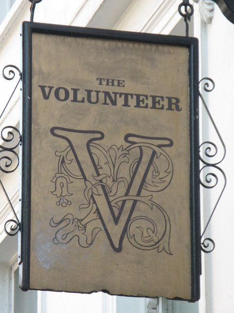 Sign for The Volunteer, 245-247 Baker Street, NW1