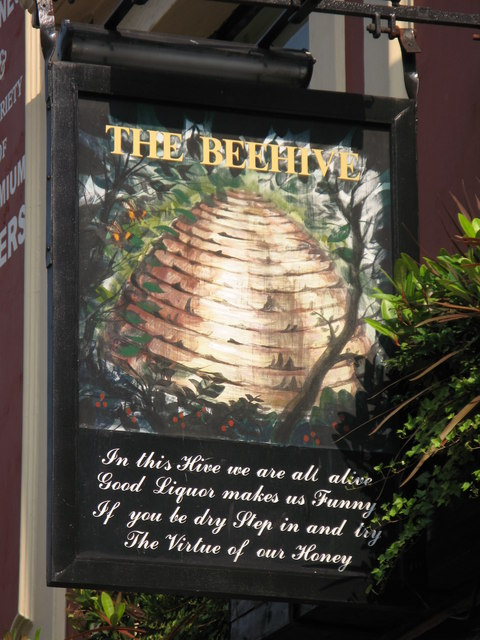 Sign for The Beehive, 126 Crawford Street, W1