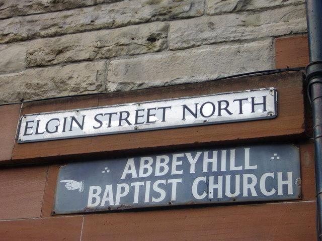 Street sign, Elgin Street North