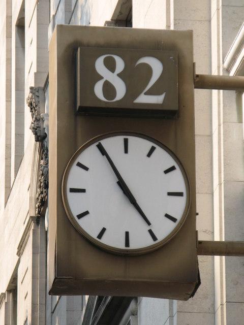 Clock on 82 Baker Street, W1