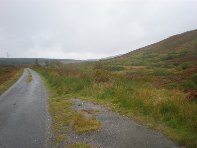 Pylons and Road going along Srath Carnaig