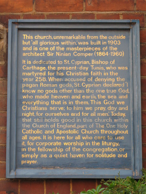 Plaque re St. Cyprian's Church, Glentworth Street, NW1