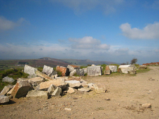 Quarried granite at Caradon Hill quarry