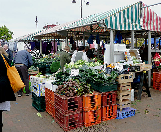 Freshly dug local vegetables in Wolverhampton Market