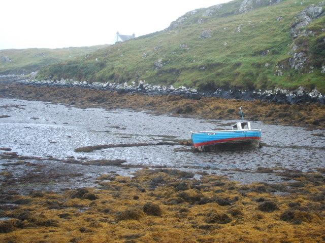 Fishing boat beached in Borosdale Bay