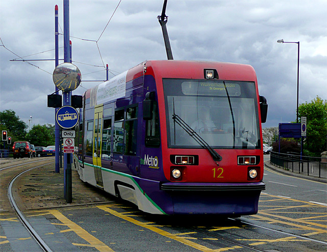 Tram arriving in Wolverhampton on a dull day