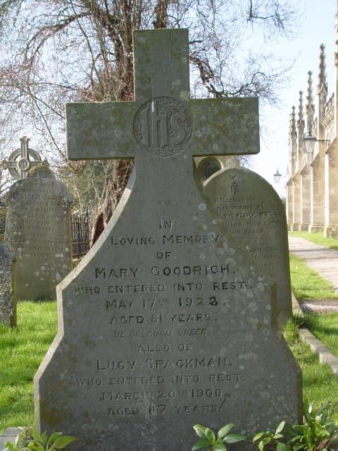 Goodrich gravestone St Mary's Tetbury.