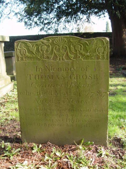 Thomas Grose gravestone St Mary's Tetbury.