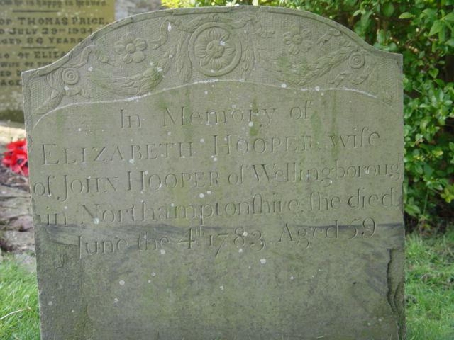 Elizabeth Hooper gravestone St Mary's Tetbury.