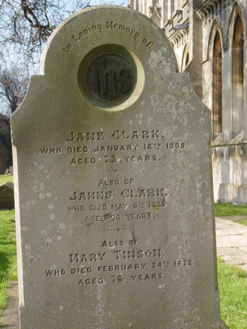 Clark family gravestone St Mary's Tetbury.