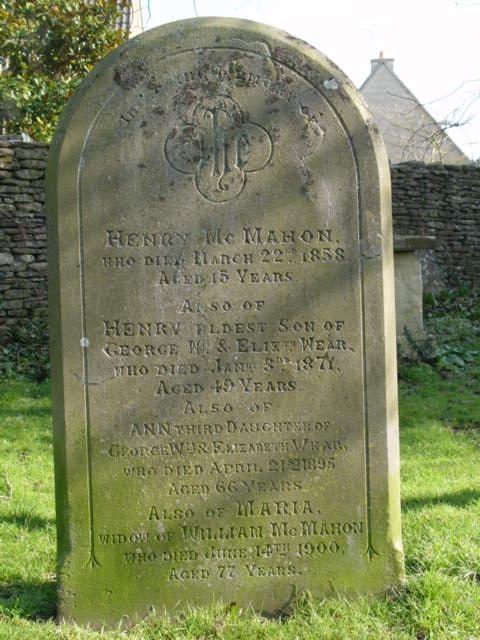 McMahon family gravestone St Mary's Tetbury.