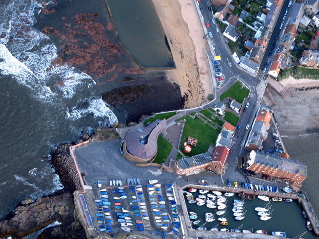 North Berwick harbour and Seabird Centre from the air