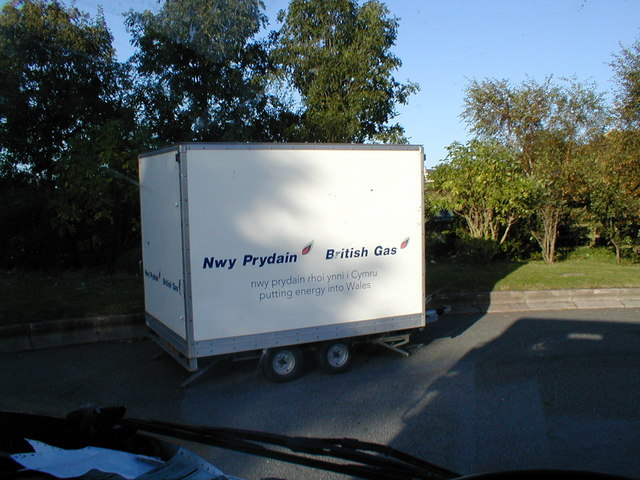 British Gas trailer in the lorry park, Bangor Services