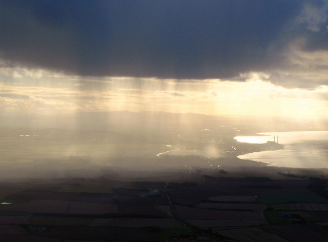 View through the rain over East Lothian