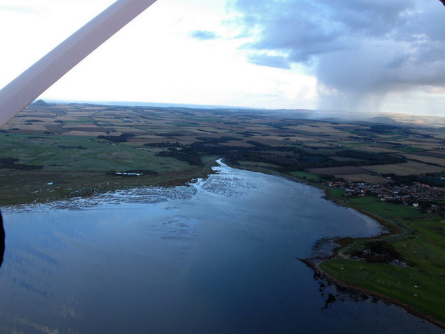 Aberlady Bay at high tide, from the air