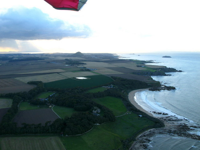 Seacliff House and the East Lothian coastline from the air