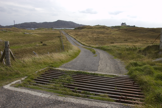 Private road and cattle grid near Kallin