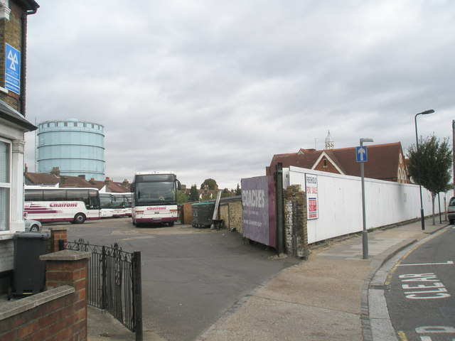 Coach depot at the bottom of Featherstone Road